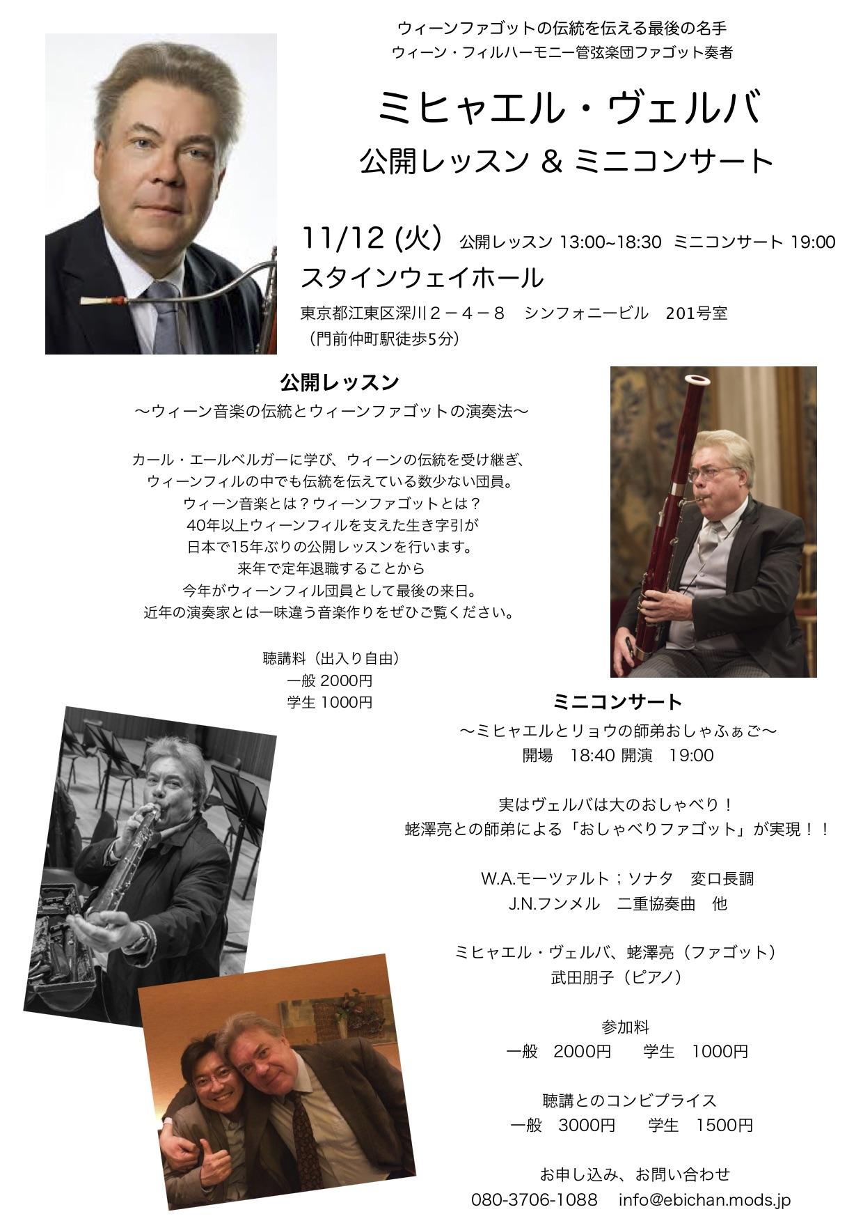 2019/11/12【ミヒャエル・ヴェルバ氏による公開レッスン&ミニコンサート】